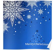 Greeting card with Christmas tree and snowflakes Poster