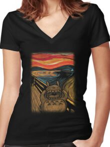 Munch's Neighbor Women's Fitted V-Neck T-Shirt