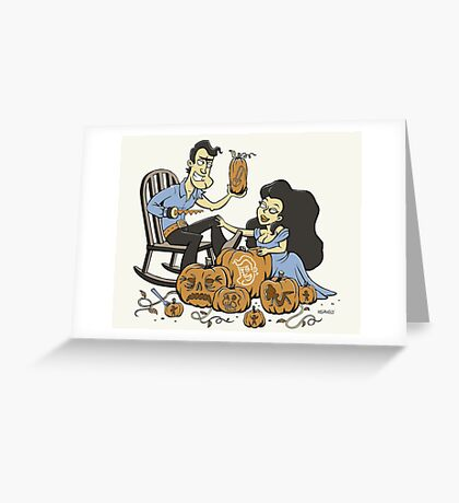 Army of carved pumpkins Greeting Card