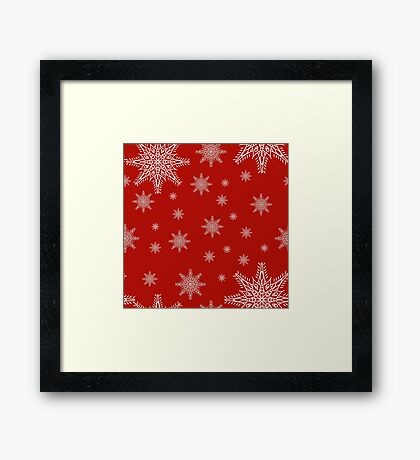 Seamless pattern with snowflakes on red background. drawing hands Framed Print