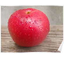 Red apple on grunge background 8 Poster
