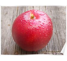 Red apple on grunge background 9 Poster
