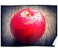 Red apple on grunge background 10 Poster