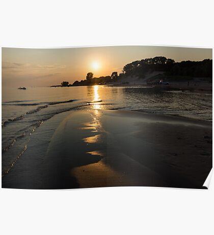 A Golden Path to Summer Fun - Lake Erie Beach Sunset Poster