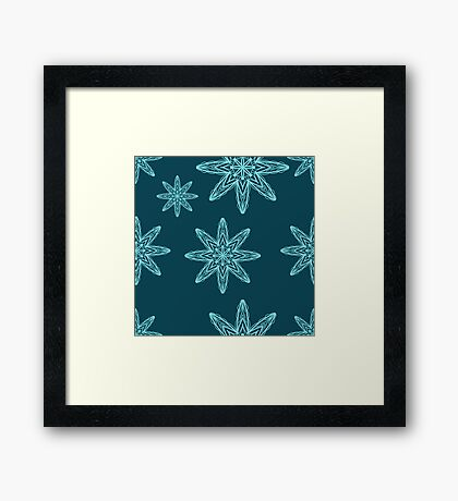 seamless pattern with snowflakes. drawing hands Framed Print