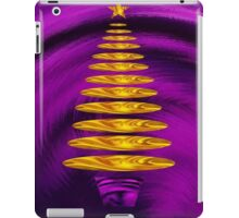 Abstract Golden Christmas Tree On Purple Background iPad Case/Skin