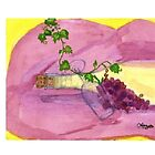 Wine and grapes by Lupe Woody