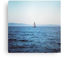 Boat on the blue sea Canvas Print