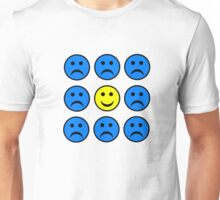 Happy Smiley in a Crowd of Unhappy Faces Unisex T-Shirt