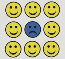 Sad Smiley Face in a Crowd of Happy Smilies by sweetsixty