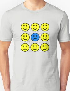 Sad Smiley Face in a Crowd of Happy Smilies T-Shirt