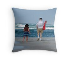 Boomer Beach Walk Throw Pillow