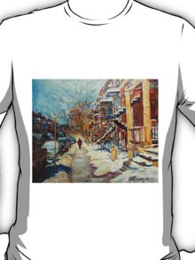 CANADIAN STREET SCENES OF MONTREAL WINTER CAROLE SPANDAU T-Shirt