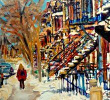 CANADIAN STREET SCENES OF MONTREAL WINTER CAROLE SPANDAU Sticker