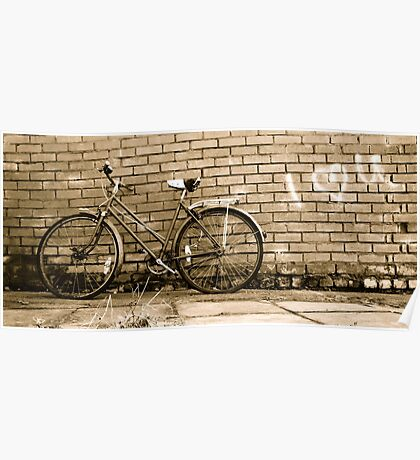 Old vintage bike & graffiti Poster