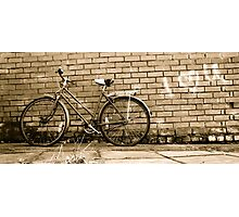 Old vintage bike & graffiti Photographic Print