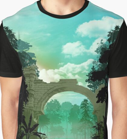 Fantasy Landscapes -Temple Graphic T-Shirt