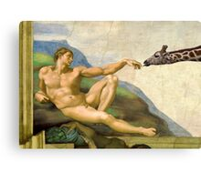 The Original Creation Of Adam With Giraffe Canvas Print