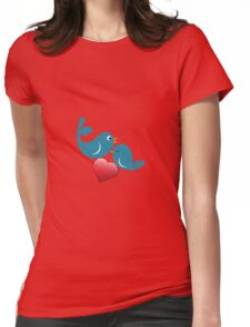 Beautiful birdie in love with heart Womens Fitted T-Shirt