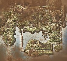 Distressed Maps: Pokemon Kanto by Alice Edwards
