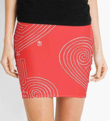 Love is a Labyrinth (white lines) Mini Skirt