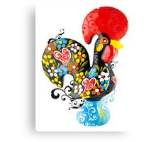 Symbols of Portugal - floral Rooster Canvas Print