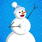 Blue Winter Happy Snowman by Boriana Giormova