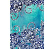 Mermaid's Garden - Navy & Teal Floral on Watercolor Photographic Print