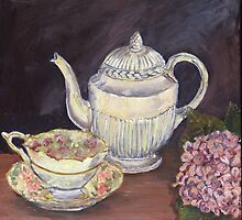 Charlotte's Wedgewood Teapot with hydrangea by artattic