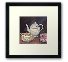 Charlotte's Wedgewood Teapot with hydrangea Framed Print