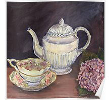 Charlotte's Wedgewood Teapot with hydrangea Poster