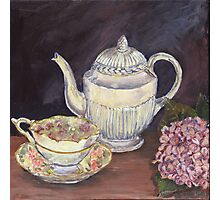 Charlotte's Wedgewood Teapot with hydrangea Photographic Print