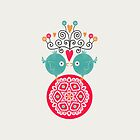 curly whirly lovebirds with heart flowers by stamptout