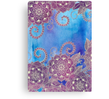 Magnolia & Magenta Floral on Watercolor Canvas Print