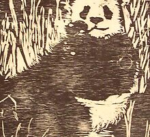 Woodcut Panda by GailB