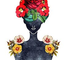 Crown of Flowers Silhouette (0003) by TabithaBianca