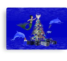 Mermaid Decorating the Christmas Tree Canvas Print