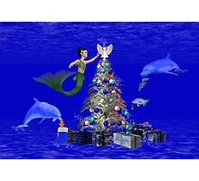Mermaid Decorating the Christmas Tree Photographic Print