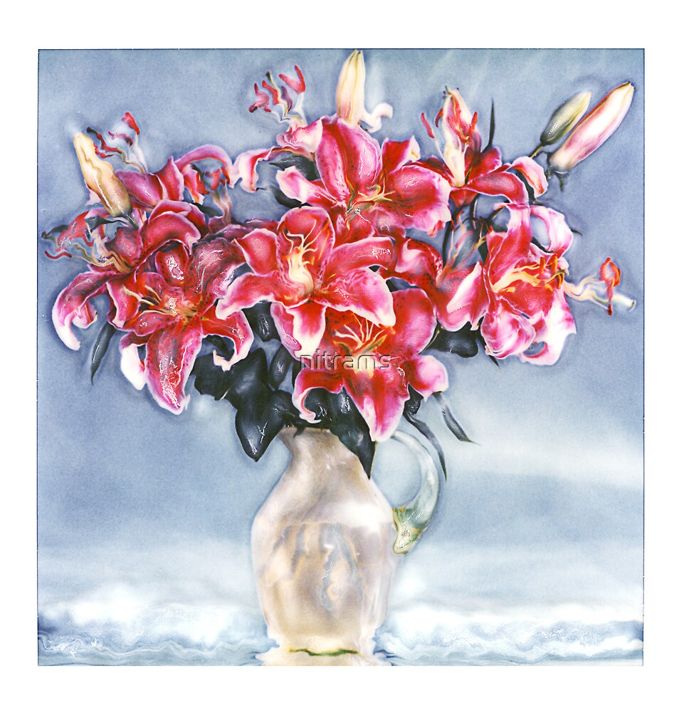 Red lillies in vase by nitrams