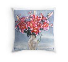 Red lillies in vase Throw Pillow