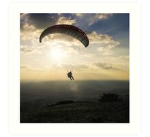 Paraglider in the sunset Art Print