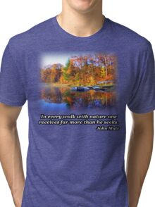 Fall Boating Sunrise Tri-blend T-Shirt