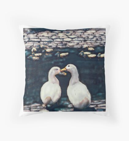 Two white ducks with young Throw Pillow