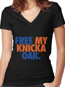 Free My Knicka Oak (Blue/Orange) Women's Fitted V-Neck T-Shirt