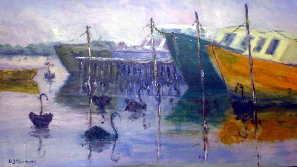 Swans At Tranby by David Hinchliffe