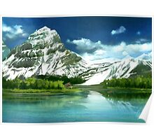 Cold mountains matte painting Poster