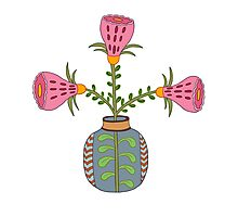 flower pot illustration 1 Photographic Print