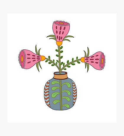 flower pot illustration 1 Photographic Print