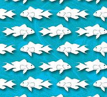 Bank Sea Bass Silhouette Pattern on Blue Background by SandpiperDesign