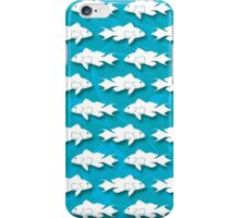 Bank Sea Bass Silhouette Pattern on Blue Background iPhone Case/Skin